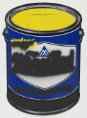 Mark Flood<br /> <i>Blue Paint Can Mute</i>, 2014<br /> Spray paint on metal sign<br /> 36 x 26 inches<br /> 91.4 x 66 cm<br /> <br /> Booth 2.1