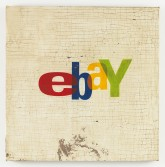 Mark Flood<br /> <i>Ebay</i>, 2014<br /> Oil, acrylic and plaster on burlap stretched<br /> over wood panel<br /> 36 x 36 inches<br /> 91.4 x 91.4 cm<br /> <br /> OAF Books Booth