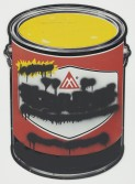 Mark Flood<br /> Red Paint Can Mute, 2014<br /> Spray paint on metal sign<br /> 36 x 26 inches<br /> 91.4 x 66 cm<br /> <br /> Booth 2.1